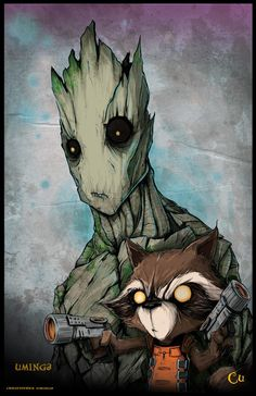 Ok, I might be just a tad obsessed.  Groot and Rocket Raccoon by Christopher Uminga *