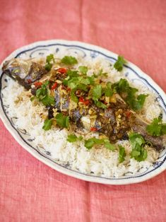 asian steamed sea bass by jamie oliver Fish Recipes, Seafood Recipes, Asian Recipes, Cooking Recipes, Healthy Recipes, Ethnic Recipes, Asian Foods, Cooking Videos, Salmon Recipes