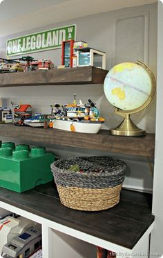 DIY floating shelves (and Lego storage, whoot!)