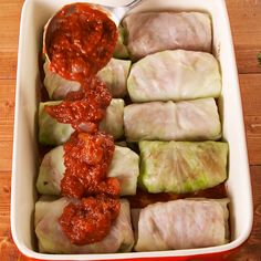 Cabbage Stuffed cabbage is the hearty low-carb dinner you need for fall. Get the recipe at .Stuffed cabbage is the hearty low-carb dinner you need for fall. Get the recipe at . Comida Keto, Good Food, Yummy Food, Tasty, Cooking Recipes, Healthy Recipes, Polish Food Recipes, Crockpot Recipes, Cooking Tips
