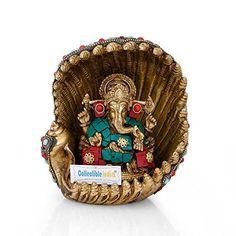 Collectible India Brass Ganesha Idol Hindu God Ganesh Statue Sitting in Conch Shell Ganpati Figurine Baby Ganesha, Lord Ganesha, Ganesh Idol, Ganesh Wallpaper, Ganesh Statue, Lord Krishna Wallpapers, Diwali Gifts, Decorative Hooks, Krishna Art