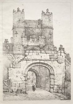 A Series of Ancient Buildings and Rural Cottages in the North of England - At York, Medieval Gate By Samuel Prout ,1821