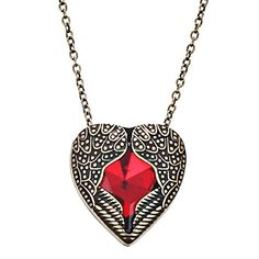DaisyJewel Bronze and Red Angel Heart Wings of Love Pendant Necklace. ANGEL WING NECKLACE - DaisyJewel Vintage Bronze and Red Angel Heart Wings of Love Pendant Necklace. HIGH END DESIGN - Unique Hidden Bail - Double Sided Design - Large Rhinestone. RESIZEABLE - 18-inch Fine Cable Chain with 3-inch Link Extension Makes the Perfect Fit. HYPOALLERGENIC - Nickel-Free, Lead-Free, High Quality Fashion Skin-Safe Plating. GIFT PACKAGING - Organza Sachet Gift Bag in Dust-Proof Zip Poly Bag…