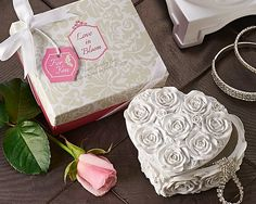 New! Love in Bloom: Heart Trinket Box Party Favor - Great For Bridal Showers. www.ceceliasbestwishes.com