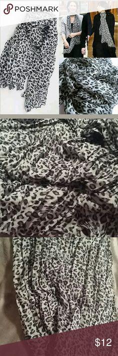 Gray Leopard Print Long Cotton Scarf Gray Leopard Print Long Cotton Scarf. Brand New. Offers Welcome. Accessories Scarves & Wraps