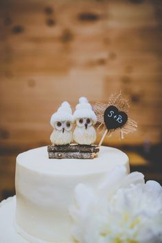 owl cake toppers, photo by Teale Photography http://ruffledblog.com/wintry-atlanta-wedding #caketoppers #owls #wedding