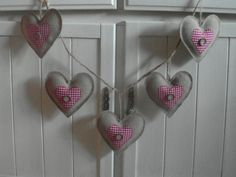 Burlap and Gingham Heart Garland by peacockinapeartree on Etsy, £12.00