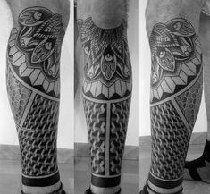 Different forms flowers geometric tattoo on leg