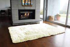 Large Longwool Straight Edged Sheepskin Rug for $2,020.00 at Comfy Sheep