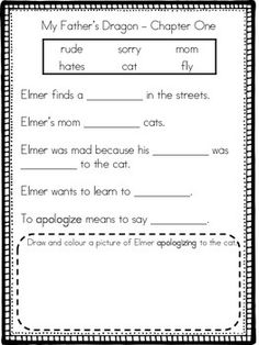 I created these adapted chapter activities for all ten chapters of My Father's Dragon for my struggling learners. The activities are structured and straightforward for students who aren't able to provide written answers to regular comprehension questions.For each chapter there is a word bank with simple words, sentences with blanks to be filled by the words in the word bank, a vocabulary sentence, a drawing and colouring activity linked to the vocabulary word, and then an image from the…