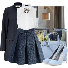 Blues-Blair Waldorf inspired - Outfits for Work Preppy Outfits, Girly Outfits, Mode Outfits, Preppy Style, Classy Outfits, Skirt Outfits, Stylish Outfits, Fashion Outfits, Preppy Wardrobe