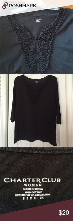 Charter Club black top Beautiful crochet neckline with three qtr sleeves. Excellent condition  Charter Club Tops