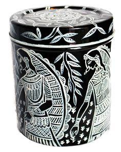 Hand painted Steel Jar
