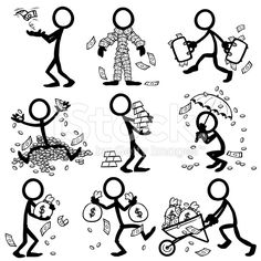 Stick Figure People Wealth and Money royalty-free stock vector art