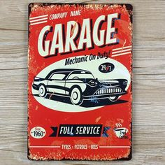garage and vintage car metal tin signs malt vintage home decor decorative plaques for bar wall - Metal Signs Home Decor