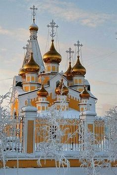 Preobrazhensky cathedral in Yakutsk, Russia ukrainian orthodox church 9 domes snow gold Russian Architecture, Church Architecture, Beautiful Architecture, Beautiful Buildings, Places Around The World, The Places Youll Go, Around The Worlds, Wonderful Places, Beautiful Places