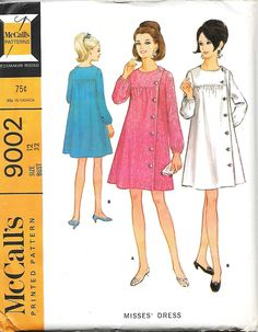 McCall's 9002 Misses Left Front Buttoned Yoked Dress Sewing Pattern, Size 12, Bust 32, UNCUT by DawnsDesignBoutique on Etsy