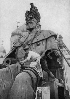 "Dismantling of the Tsar Nicholas II statue - Moscow (1918)  The dismantling of Tsarist symbols and monuments became a priority of the Bolsheviks upon their accent to power. This was done to remove all traces of the old regime  and to strip Russia of its ""old values"" which were deemed as a barrier to the expansion of communism."