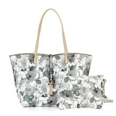"Hynes Victory Ladies 2 in 1 Reversible Tote Bag with Pouch (Floral & Beige). Material: pebble grain synthetic leather. Dual shoulder strap with 9.8"" drop. Detachable zip wristlet. Double side with different color pattern available. Product Dimensions: 4.7 x 11 x 15 inches."