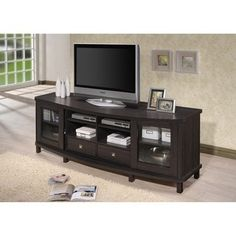 Baxton Studio Udder Contemporary 70-Inch Dark Brown Wood TV Cabinet with 2 Sliding Doors and 2 Drawers