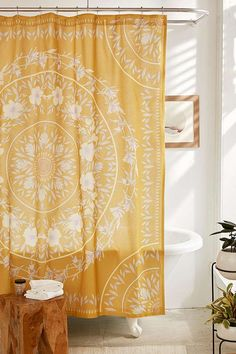 $49 Sketched Floral Medallion Shower Curtain | Urban Outfitters
