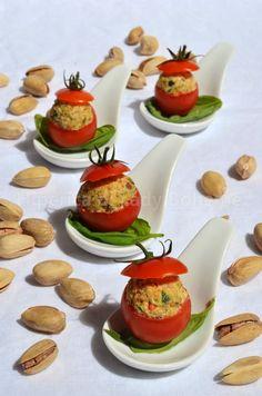 ITALIAN FOOD - POMODORI PACHINO RIPIENI CON ROBIOLA E PISTACCHI (Stuffed Cherry Tomatoes with Soft Cheese and Pistachios)