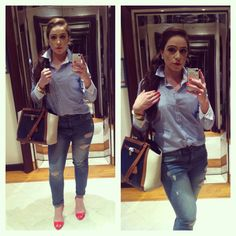 Outfit of the day boyfriend jeans and tommy hillfiger Oxford shirt