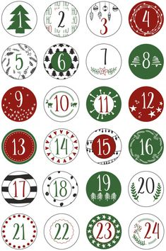 Advent Calendar Numbers Stickers 1 to 24 - colored Vintage - Labels - Stickers - Christmas Calendar - Advent - Round - DIY - to stick on - Décor, Advent Calendars Calendars Christmas Tree Advent Calendar Diy, Diy Advent Calendar, Kids Calendar, Christmas Stickers, Christmas Printables, Diy Christmas Gifts, Christmas Holidays, Calendar Numbers, Diy Calendario