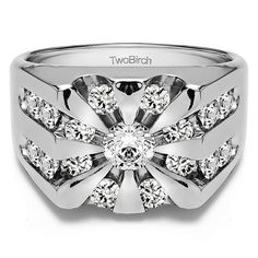 Sterling Silver Men's 1/2ct TGW White Sapphire Round Channel-set Sunburst Ring (Sterling Silver, Size 12.5)