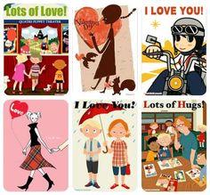 Love the retro feel to these printable valentine freebie