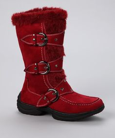 Take a look at this Lucky Top Red Jessica Boot by In Step: Faux Fur Boots on #zulily today!