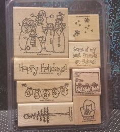 Stampin' Up! Retired FLAKY FRIENDS WM Stamps Snowman HAPPY HOLIDAYS! in Crafts, Stamping & Embossing, Stamps | eBay