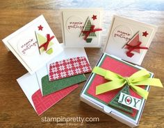 Stampin Up Stitched Shapes Framelits Dies 3 x 3 Holiday Cards Ideas - Mary Fish StampinUp