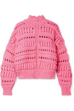 Isabel Marant   Zoe oversized open-knit cotton-blend turtleneck sweater