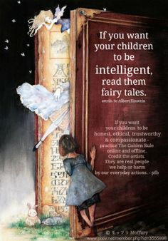 """Into the Book World"" © モッフリ Moffury (Artist) via pivix.net ... If you want your children to be intelligent,  read them fairy tales. - attrib. to Albert Einstein ... If you want  your children  to be honest, ethical, trustworthy  & compassionate ... The Golden Rule:   http://www.pinterest.com/pin/86975836527744374/  [Do not remove caption. International copyright law requires that you credit the artist. Link directly to the artist's website.] If you're fair, you care."