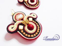 Marsala Merlot earrings soutache jewelry by Marecalmojewels
