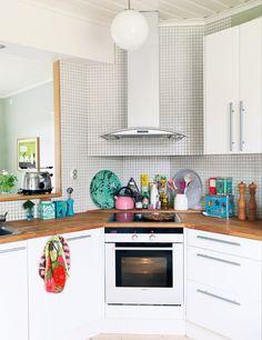 small kitchen with a corner range