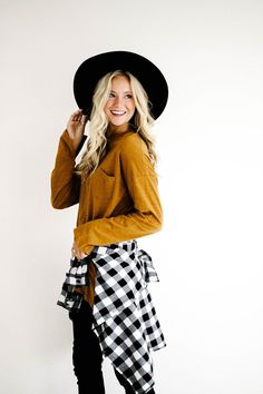 Plaid Shirt + Long Sleeve Top Fall Layering | ROOLEE