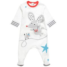 Catimini Ivory Cotton Mouse Print Babygrow | Childrensalon