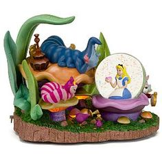 Alice in wonderland Caterpillar and Cheshire Cat Snow Globe