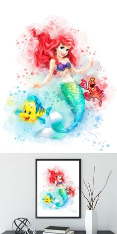 Disney princess pictures to print princess print little mermaid watercolor art printable home decor wall art nursery decor kids decor baby shower gifts Ariel Disney, Disney Little Mermaids, Ariel The Little Mermaid, Disney Art, Watercolor Mermaid, Watercolor Disney, Mermaid Art, Watercolor Art, Tattoo Mermaid