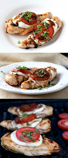 Grilled Caprese Chicken Marinate in Balsamic Vinaigrette./cook down a balsamic vinaigrette and put over cooked chicken its so good! warning it smells sour when cooking I Love Food, Good Food, Yummy Food, Tasty, Grilling Recipes, Cooking Recipes, Healthy Recipes, Cooking Tips, Meal Recipes