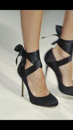 Wrap around black high heels