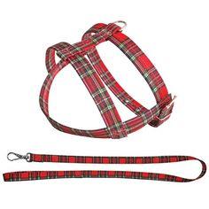Kit Peitoral e Guia Xadrez Vermelho São Pet - MeuAmigoPet.com.br #petshop #cachorro #cão #meuamigopet