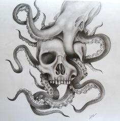 pencil drawing Sea Tattoo Sleeve, Octopus Tattoo Sleeve, Octopus Tattoos, Skull Tattoos, Drawing Sketches, Pencil Drawings, Drawing Ideas, Drawing Drawing, Squid Tattoo
