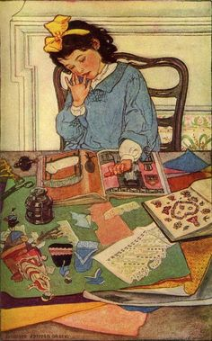 Elizabeth Shippen Green-  i loved cutting out pictures and making scrapbooks when i was young -- the beginnings of my love of collage and mixed media.
