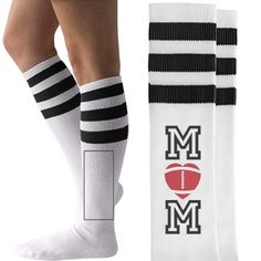 Cute Football Mom Socks. Why? WHY NOT! Because they're cute, THAT'S WHY! #footballmom