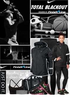 """Nike Total Blackout"" by roxy75 ❤ liked on Polyvore"