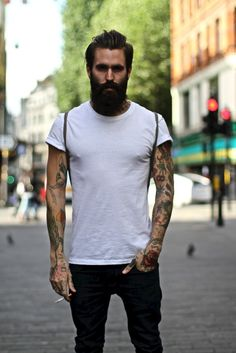 rolled up t shirt tattoo men Style tumblr streetstyle beard