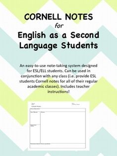 This is a modified version of Cornell notes, intended for use in an ESL or ELL classroom. It helps develop quality note-taking skills and increases comprehension for ELLs in grades 6-12. The template can be modified if needed. Includes teacher instructions!